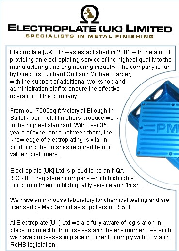 The Electroplate [UK] Ltd has a text page for visitors with imapred vision. To read about our Alochrom 1200 Anodising Chemi-black chemical blacking Electroless nickel Zinc plating and Zinc phosphating services please click here.